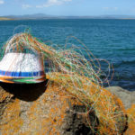 The Animals Asia basket balanced on rocks covered with orange lichen, with the sea and the coastline in the background