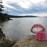 Telephone wire basket on a rock at Plunkett Point on the Tasman Peninsula.