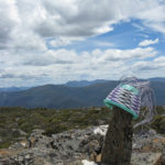 Sally's basket in progress, placed on top of a vertical boulder on Mt Styx, with the mountain ranges of South West Tasmania in the background.